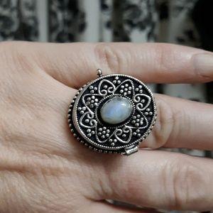 New Rainbow  Moonstone Silver Poison Ring. Sz 7.75